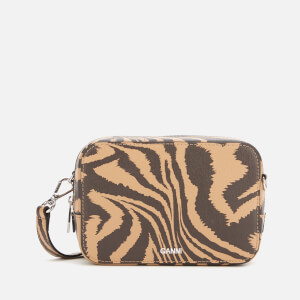 Ganni Women's Printed Leather Camera Bag - Tannin