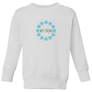 Merry Christmas flakes Kids' Sweatshirt - White