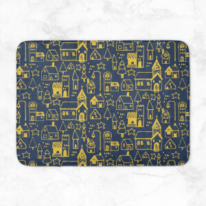 Christmas Town At Night Bath Mat