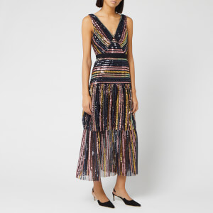 Self-Portrait Women's Stripe Sequin Midi Dress - Multi