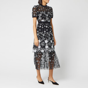 Self-Portrait Women's Deco Sequin Crew Neck Midi Dress - Black
