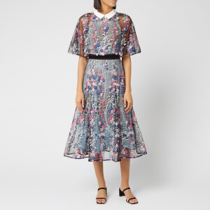 Self-Portrait Women's Floral Vine Collared Midi Dress - Lace