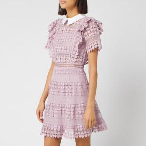 Self-Portrait Women's Heart Lace Mini Dress - Lilac