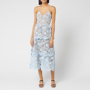Self-Portrait Women's Flower Lace Midi Tiered Dress - Light Blue