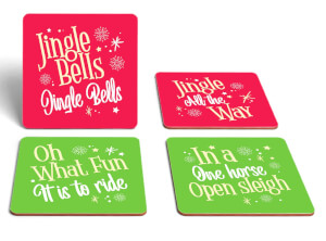Jingle Bells Christmas Carol Square Coaster Set