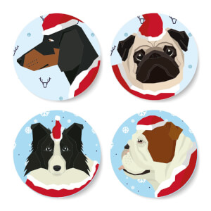 Christmas Doggos Round Coaster Set