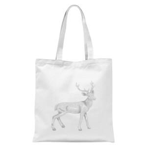 Glitter Stag Tote Bag - White
