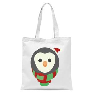 Festive Penguin Face Tote Bag - White