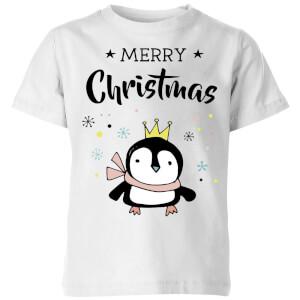 Merry Christmas Penguin Kids' T-Shirt - White