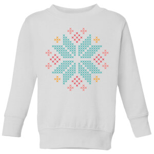 Cross Stitch Festive Snowflake Kids' Sweatshirt - White