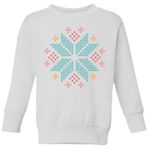 Cross Stitch Festive Snowflake Kids' Sweatshirt - White