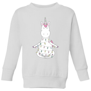 Unicorn Wrapped In Christmas Lights Kids' Sweatshirt - White