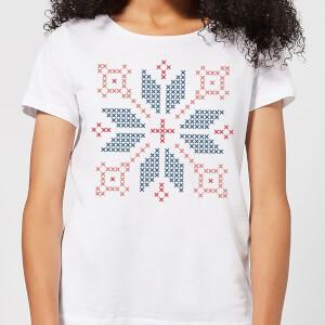Cross Stitch Festive Shape Women's T-Shirt - White
