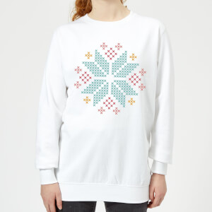 Cross Stitch Festive Snowflake Women's Sweatshirt - White