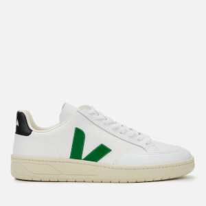 Veja Men's V-12 Leather Trainers - Extra White/Emeraude/Black