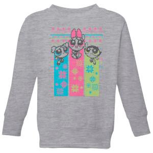 Power Puff Girls Kids' Christmas Sweatshirt - Grey