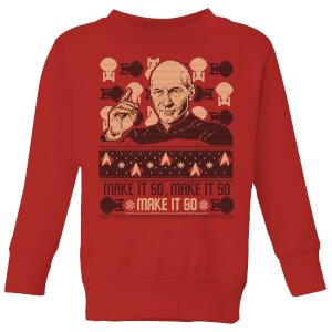 Star Trek: The Next Generation Make It So Kids' Christmas Sweatshirt - Red
