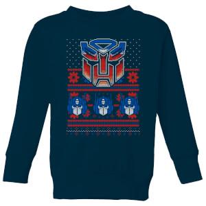 Autobots Classic Ugly Knit Kids' Christmas Sweater - Navy