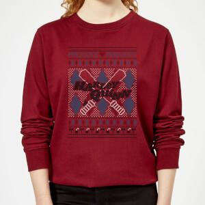 Harley Quinn Women's Christmas Sweatshirt - Burgundy