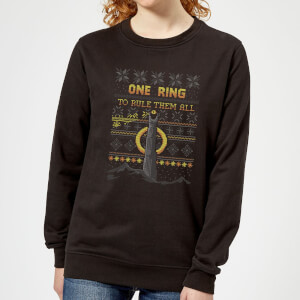 Lord Of The Rings One Ring Women's Christmas Sweater - Black
