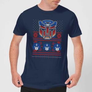 Autobots Classic Ugly Knit Men's Christmas T-Shirt - Navy
