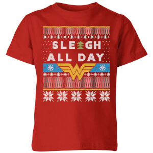 Wonder Woman 'Sleigh All Day Kids' Christmas T-Shirt - Red