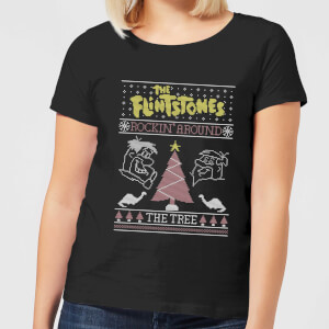 Flintstones Rockin Around The Tree Women's Christmas T-Shirt - Black