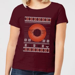 Looney Tunes Knit Women's Christmas T-Shirt - Burgundy