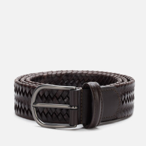 Anderson's Men's Matt Buckle Woven Belt - Dark Brown