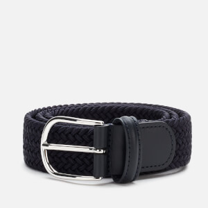 Anderson's Men's Polished Silver Buckle Woven Belt - Navy