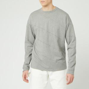 JW Anderson Men's Long Sleeve Diagonal Panelled T-Shirt - Frost Melange