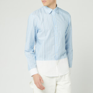 JW Anderson Men's Logo Stripe Panelled Hem Shirt - Baby Blue
