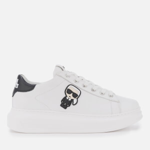 Karl Lagerfeld Women's Kapri Karl Ikonic Leather Chunky Trainers - White/Black