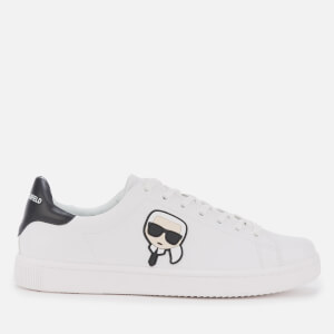 Karl Lagerfeld Men's Kourt Karl Ikonic 3D Lace Leather Cupsole Trainers - White/Black