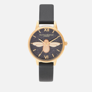 Olivia Burton Women's Glitter Dial 3D Bee Watch - Black/Gold