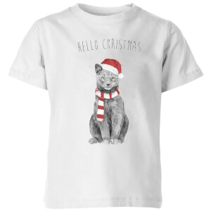 Balazs Solti Hello Christmas Cat Kids' T-Shirt - White