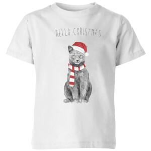 Balazs Solti Hello Christmas Cat Kids' T-Shirt - White