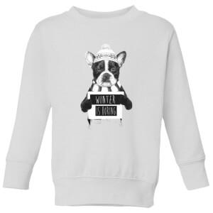 Winter Is Boring Kids' Sweatshirt - White