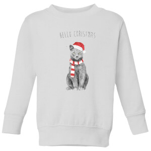Balazs Solti Hello Christmas Cat Kids' Sweatshirt - White