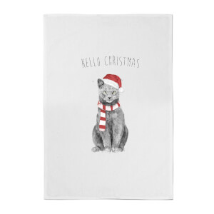 Balazs Solti Hello Christmas Cat Cotton Tea Towel