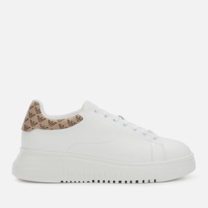 Emporio Armani Women's Leather Chunky Trainers - White/T Moro