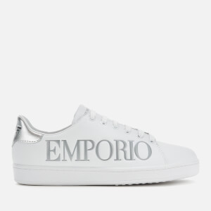 Emporio Armani Women's Leather Logo Cupsole Trainers - White/Silver