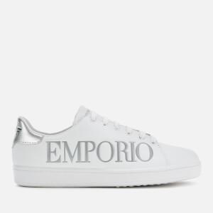 Emporio Armani Women's Leather Logo Cupsole Trainers - White/Silver