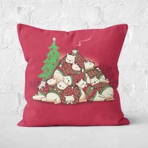 Good Night Xmas Bear Square Cushion