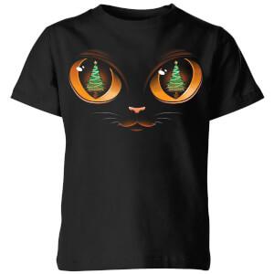 Xmas Cat Attack Kids' T-Shirt - Black