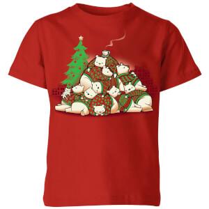 Tobias Fonseca Good Night Xmas Bear Kids' T-Shirt - Red