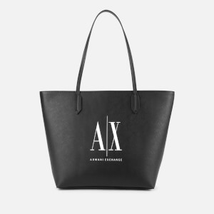 Armani Exchange Women's Logo Shopping Tote Bag - Black