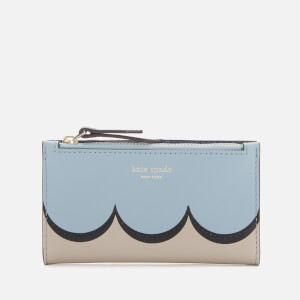 Kate Spade New York Women's Intarsia Scallop Small Slim Bifold Wallet - Horizon Blue