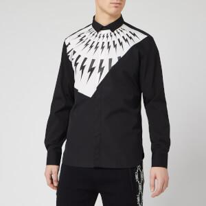 Neil Barrett Men's Fairisle Thunderbolt Shirt - White/Black