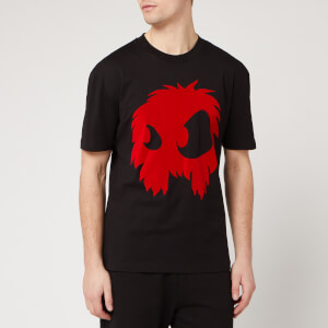 McQ Alexander McQueen Men's Dropped Shoulder Monster Flock T-Shirt - Darkest Black/ Rouge